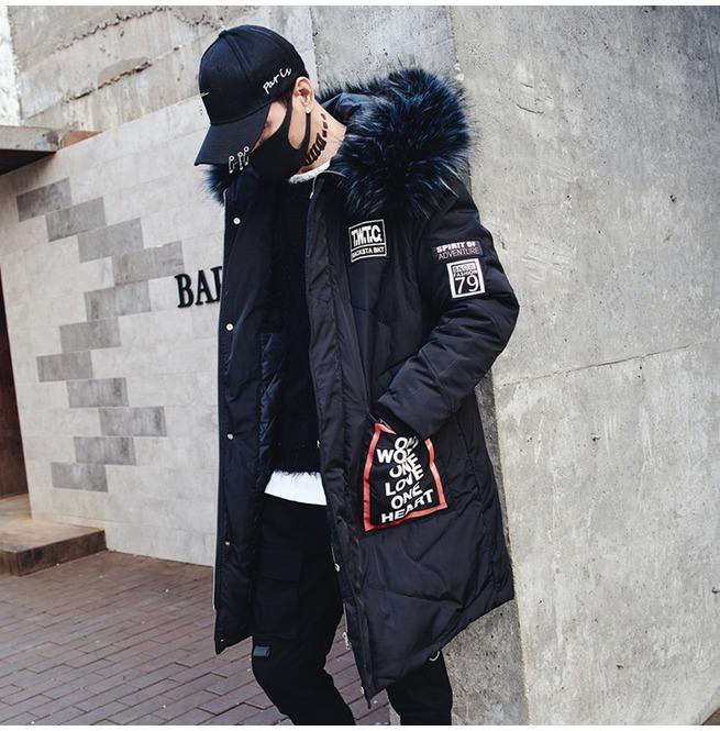 Mens Parka Coats Winter Jacket Long Thicken Fur Collar | RebelsMark