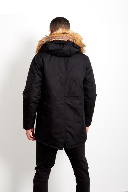 Mens Black Oversized Faux Fur Hooded Parka Co