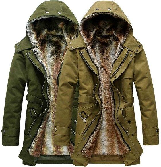 HOT Long Thick Men Outdoors Jacket Parka coats Fur Lining Jacket .