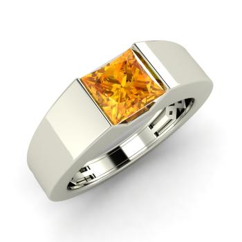 Norval Men's Ring with Princess cut Citrine | 0.49 carats Square .