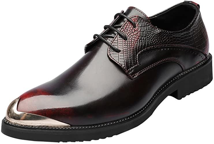 Amazon.com | Santimon Mens Shoes Alligator Leather Silver Metal .