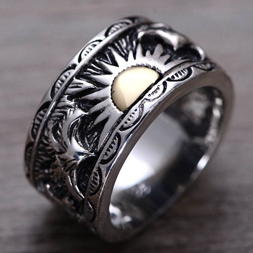 Men's Sterling Silver Sun Band Ring | Mens silver jewelry, Mens .