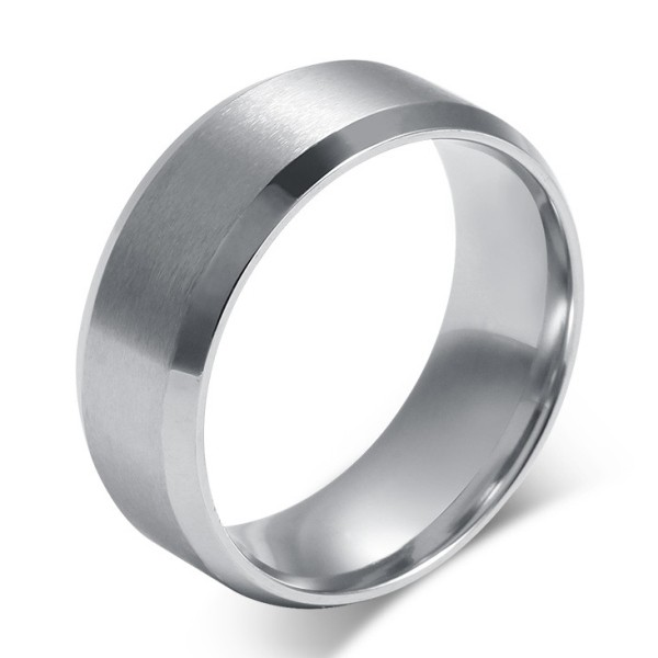Titanium Simple Silver Men's Ring - Lajerrio Jewel