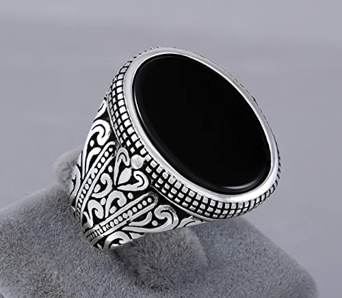 Amazon.com: 925 Sterling Silver Ring for Men with Oval Black Onyx .