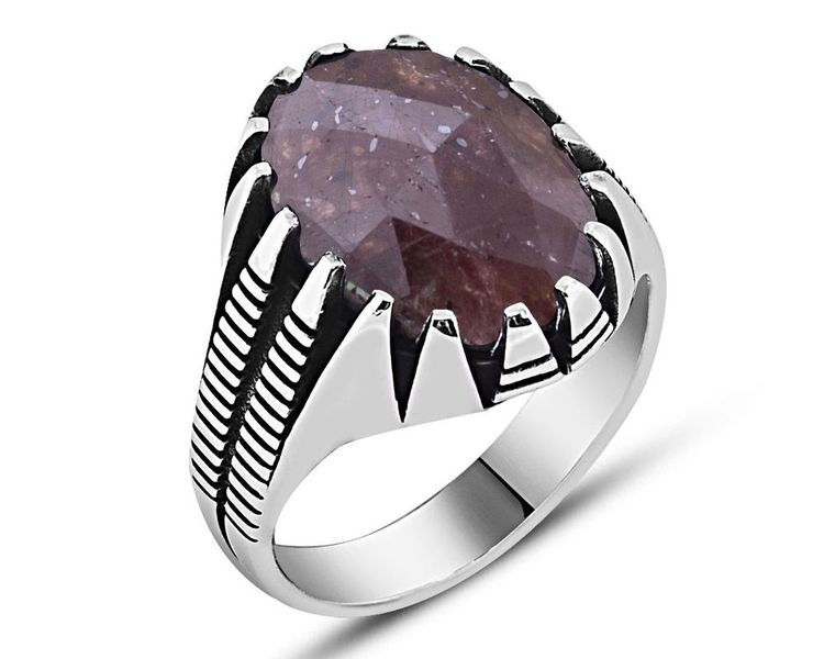 Unique Ruby Stone 925 Sterling Silver Men's Ring - Zenn Sto
