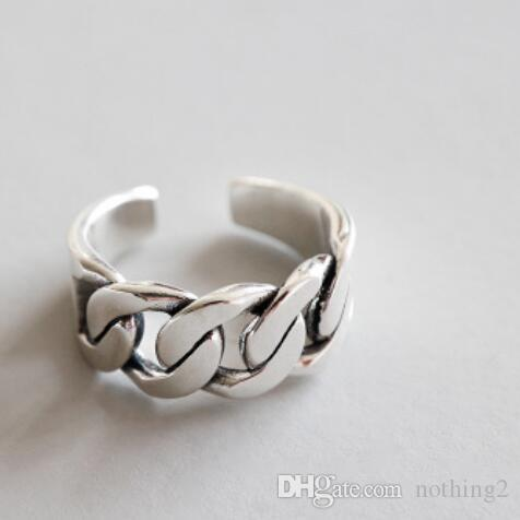 S925 Sterling Silver Rings Designer Rings For Men Rough Chain Open .