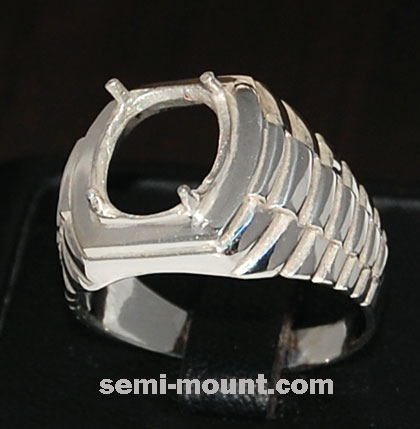 Setting semi mount silver ring mens for oval 11 x 9