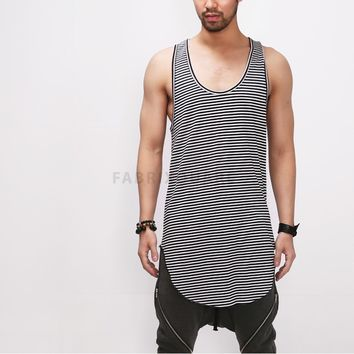 Mens XQUARE 23 Striped Extended Long Tank from Fabrixquare | F
