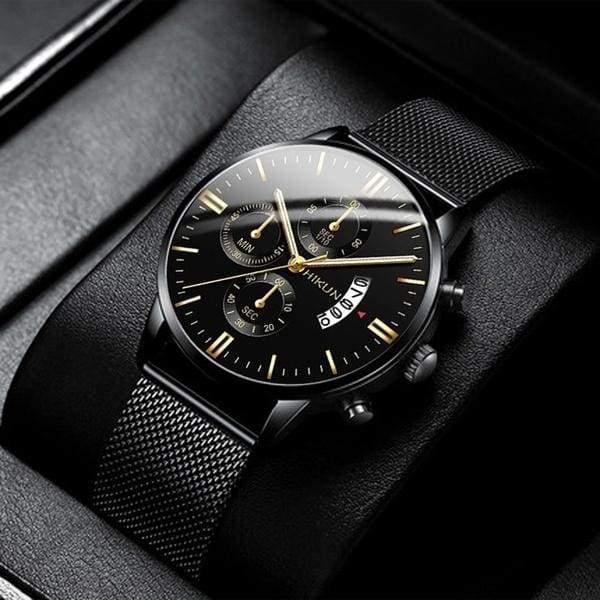 Fashion Men's Watches Stainless Steel Mesh Belt Black Quartz .