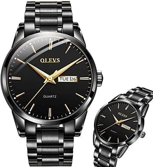 Amazon.com: Day Date Watches for Men,All Black Mens Watch,Mens .