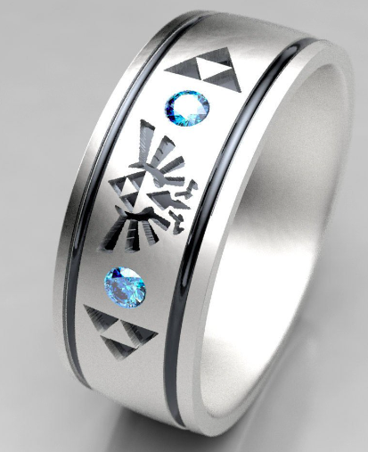 Legend of Zelda Mens Blue Diamond Wedding Ring — Metal Wendler .
