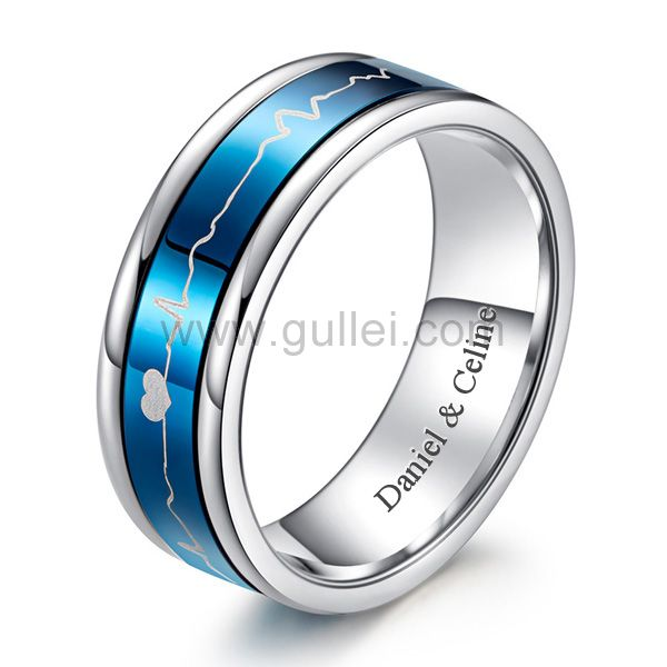 Personalized Heartbeart Mens Wedding Ring Black and Blue 9mm .