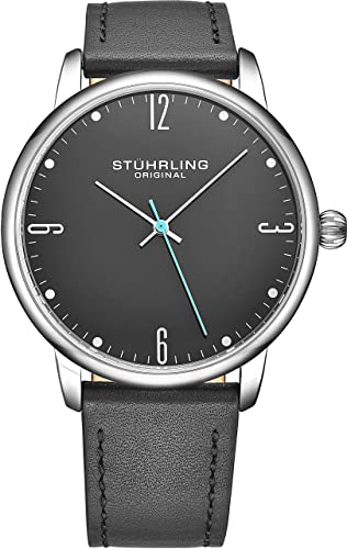 Amazon.com: Stuhrling Original Mens Wrist Watch Grey Leather Strap .