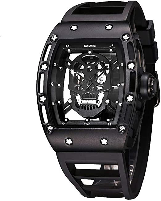 Amazon.com: Skone Unique Skull Mens Watches, Cool Rectangle .