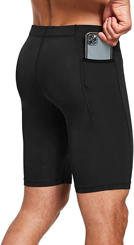 "Amazon.com: BALEAF Men's Yoga Shorts 9"" Compression Pocketed ."