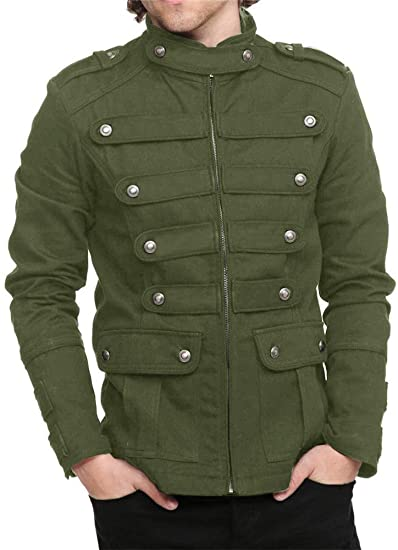 Karlywindow Mens Gothic Military Jackets Casual Band Steampunk .