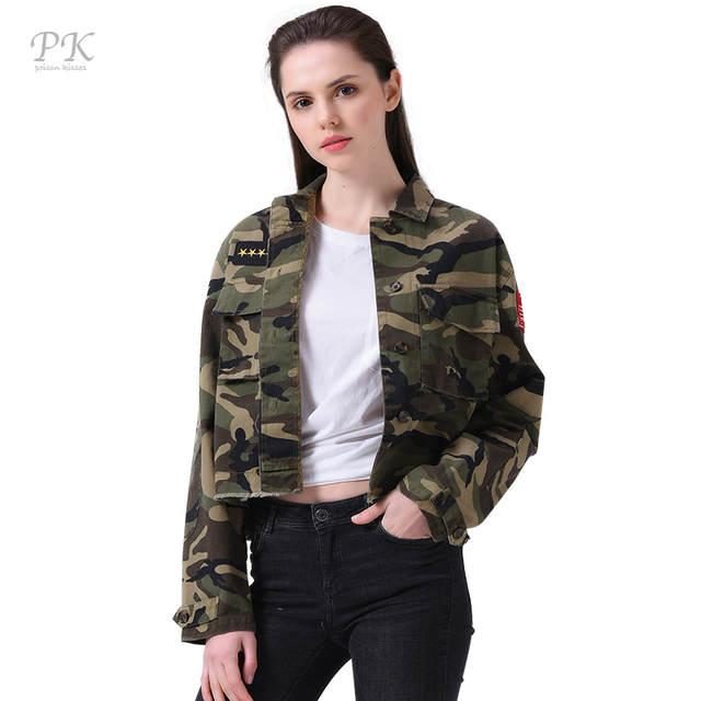 Online Shop PK Military Jacket Women Fashion 2017 Army Green Denim .