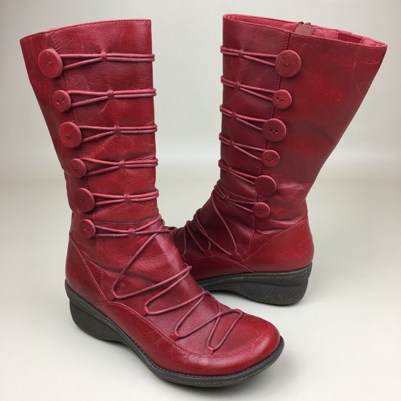 Miz Mooz Shoes | Owen Red Leather Boots Side Zip Buttons | Poshma