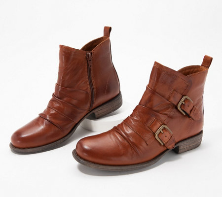 Miz Mooz Leather Buckle Ankle Boots - Leslie - Page 1 — QVC.c