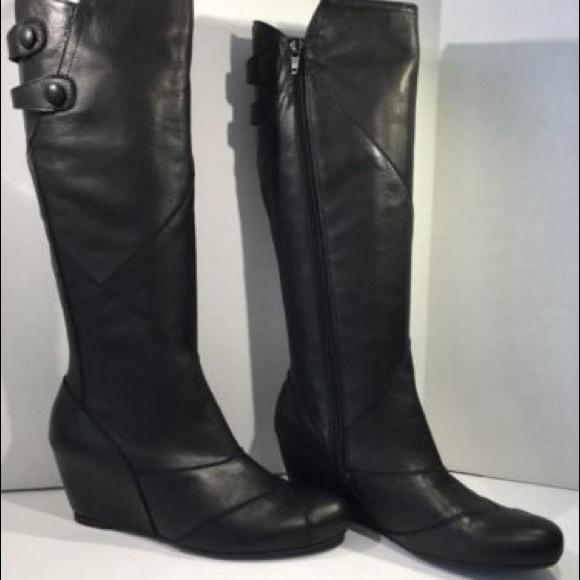 Miz Mooz Shoes | West Knee Hi Black Wedge Bootsfits Sz 10 | Poshma