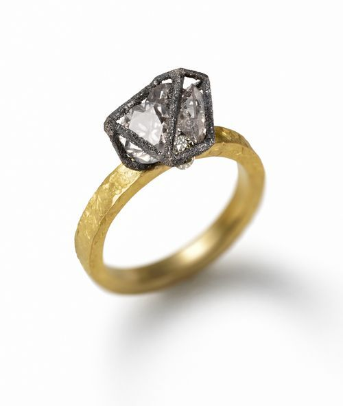 Ring-with-Diamond-Cage | Fashion rings, Modern engagement rings .