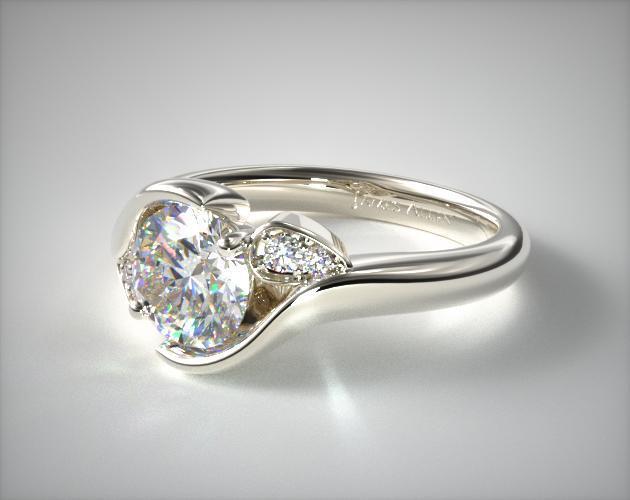 Modern Leaf Bypass Engagement Ring   14K White Gold   17181W