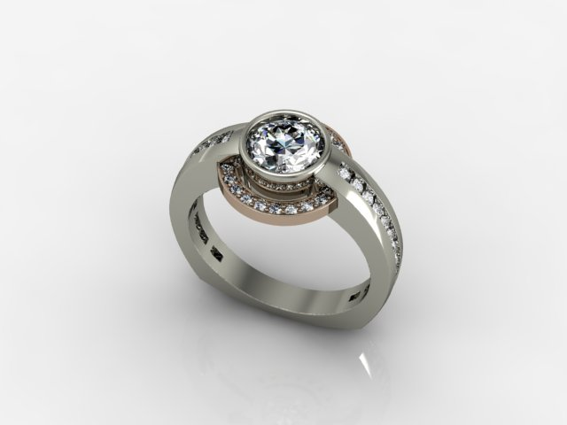 Modern Engagement Ring with Spinning Halo by Regard Jewelry in .