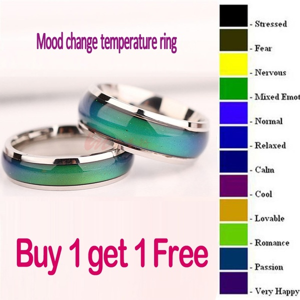 2PC Fine Jewelry Mood Ring Color Change Emotion Feeling Mood Ring .