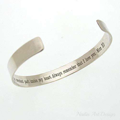 Mother son bracelet Custom bracelet for son from mom, Sterling .