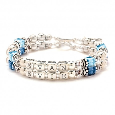 Personalized Silver Crystal Mother Bracelet Double Stra