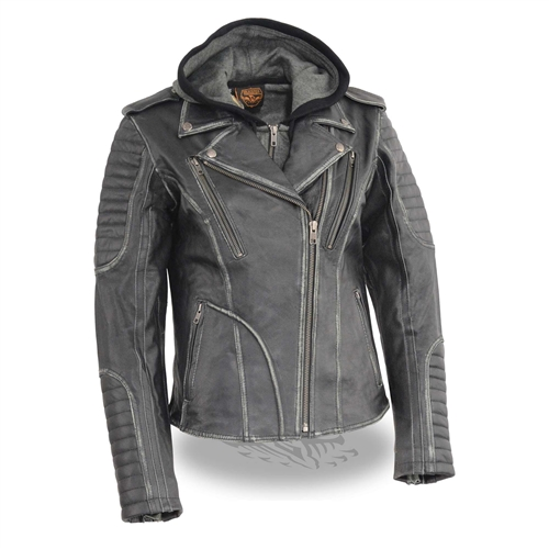 Women's Leather Biker Jacket (Milwaukee Leather) Hoodie Lin
