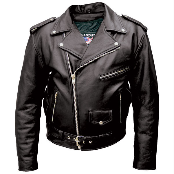 Allstate Leather Inc. Men's Black Buffalo Leather Motorcycle .