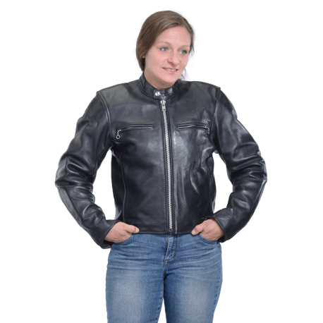Womens Armored Comet Jacket - Black Leather Ladies Motorcycle .