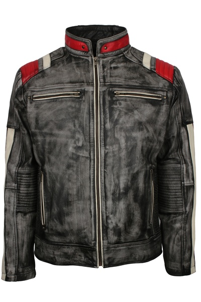 Distressed Black Leather Motorcycle Jacket For Mens | Buy No