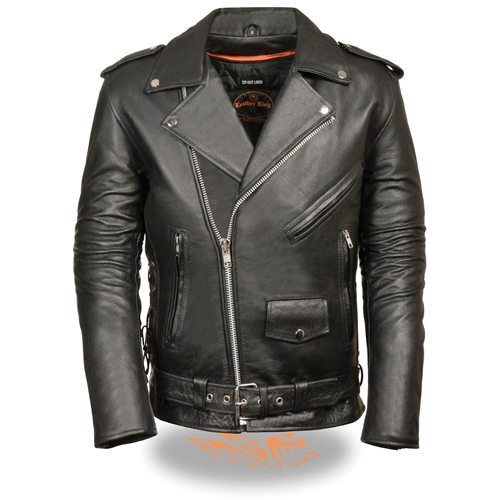Big Mens Traditional Leather Motorcycle Jacket - 10XL - 12
