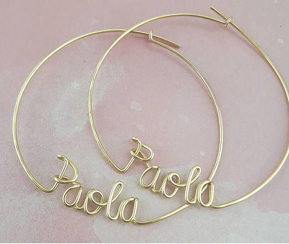Customized Hoop Earrings with Personalized Names, Name Earrings, 2 .
