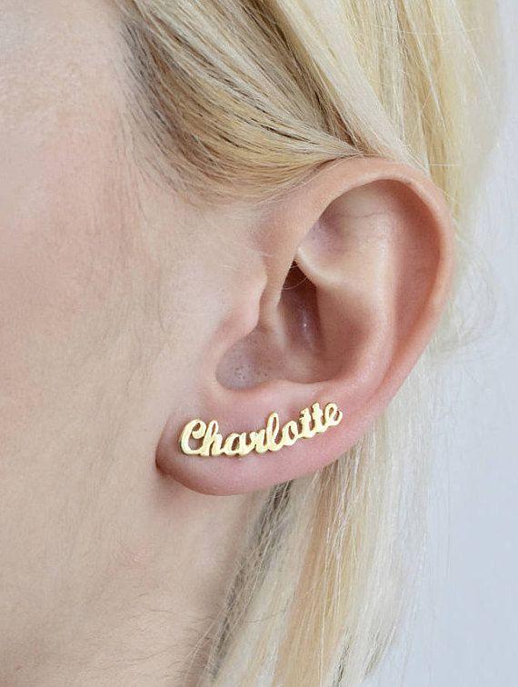 Name Earring - Name Stud Earring - Gold Name Earring .
