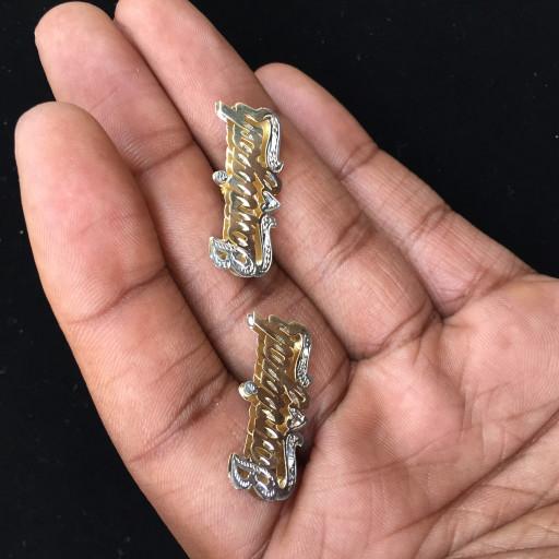 14k Stud Double Plated Name Earrings | FranceJewelers on ArtFi