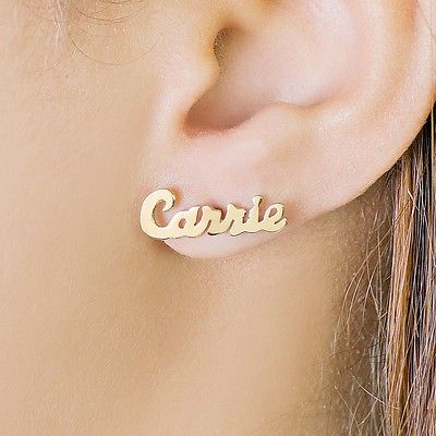 Personalized Sterling Silver and Gold Plated Stud Name Earrings .