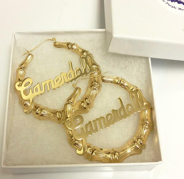 Gold Large Bamboo Name Hoop Earrings - Be Monogramm