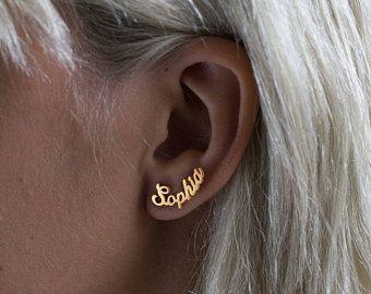 Personalized Name Curve Earrings, Custom Earrings Stud, Name .