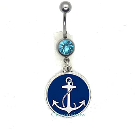 Amazon.com: Anchor Belly Ring//Nautical Belly Ring//Anchor Jewelry .