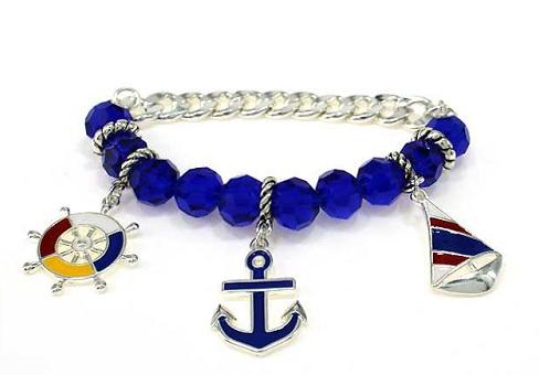 Silver/Blue Tone Naval Sailing Chain Bracelet, Anchor Wheel Ship .