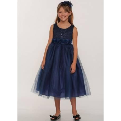 Navy Blue Flower Girl Dresses Built in Multi Laye