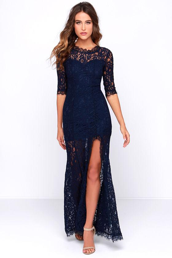 Gorgeous Navy Blue Dress - Lace Dress - Half Sleeve Dress - Maxi .