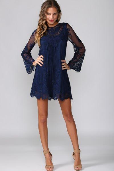 Bohemian Dress Navy | Bohemian dress, Navy lace dress, Prom .