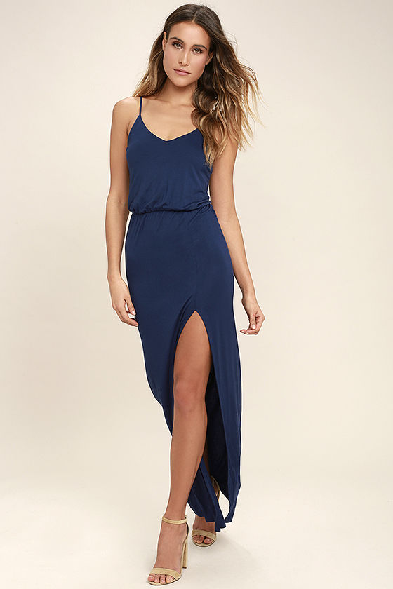 Cute Navy Blue Dress - Maxi Dress - Sleeveless Ma