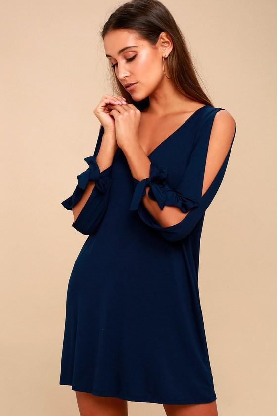 Cute Navy Blue Dress - Shift Dress - Cold Shoulder Dre