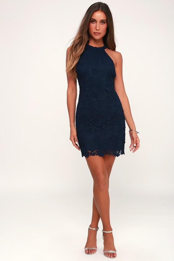 Lace Mini Dress - Navy Dress - Halter Dresses - Sheath Dre