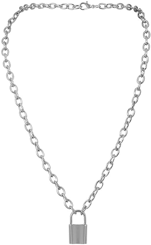 Amazon.com: Krun Y Necklace Lock Pendant Simple Cute Necklaces .